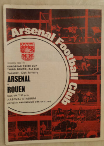 196970 European Fairs Cup Arsenal v Rouen 3rd Round 2nd Leg