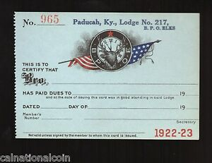 Details about ELKS LODGE No 217 PADUCAH, KY  DUES RECEIPT No 965 BLANK TAG  1922-1923