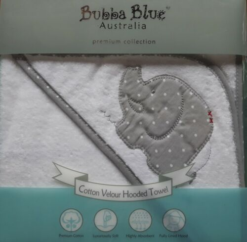 Bubba Blue New Cotton Velour Hooded Towel. Embroidered Elephant Design.