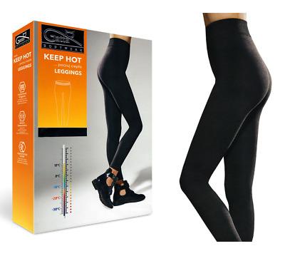 Thermoleggings für Damen 3er Pack blickdicht in schwarz S-XXL mit Soft Fleece