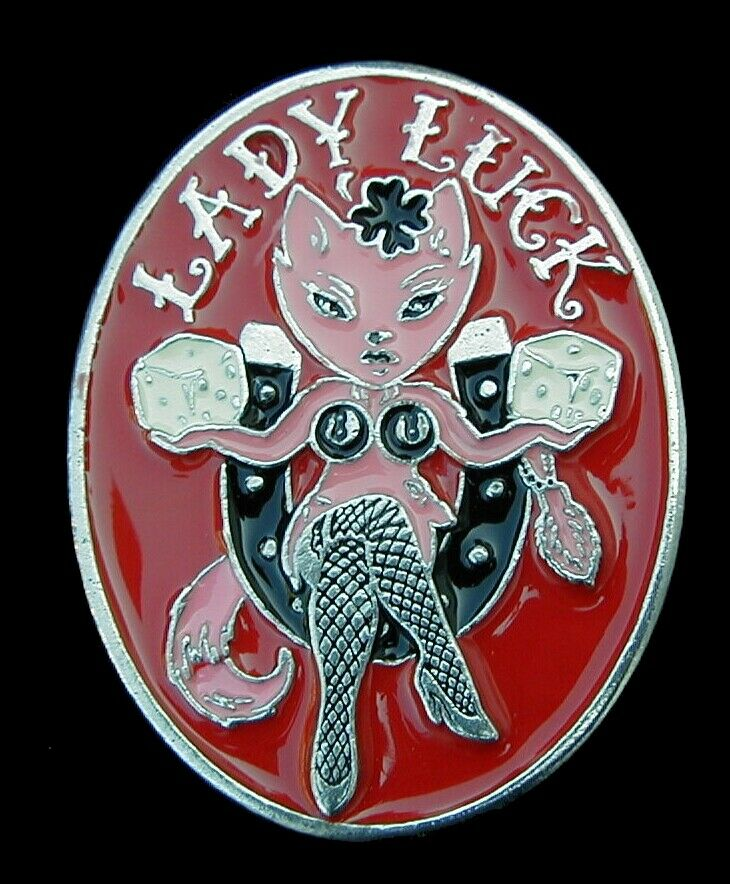 LADY LUCK SEXY CAT WITH LUCKY SYMBOLS BELT BUCKLE MOBTOWN US MADE