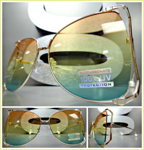OVERSIZE VINTAGE RETRO Style SUNGLASSES Rose Gold Frame Orange Yellow Green Lens