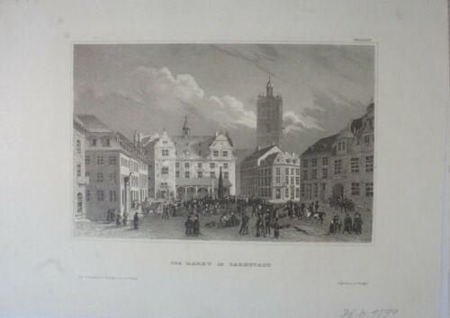 Der Markt in Darmstadt Hildbgh 1839 Stahlstich Original G-6197