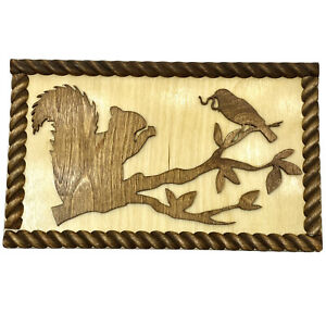 Vtg Handmade Wood Plaque with Squirrel and Bird Silhouettes Wall Art KITSCH