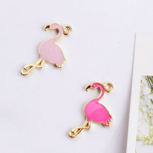 Lots-5-10PcsCharm-Alloy-Jewelry-Animal-Mini-Flamingo-Pendants-For-DIY-Necklace