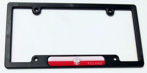 Poland Polska Flag Black Plastic Car License plate frame dome decal Polish eagle