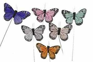 """24 Butterflies Artificial Feather Decorative Fake Butterfly BF785 X 24 3"""""""