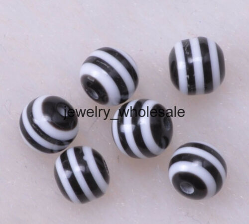 40pcs 100pcs Acrylic Zebra Stripe Loose Round Charms Spacer Beads Findings 6mm