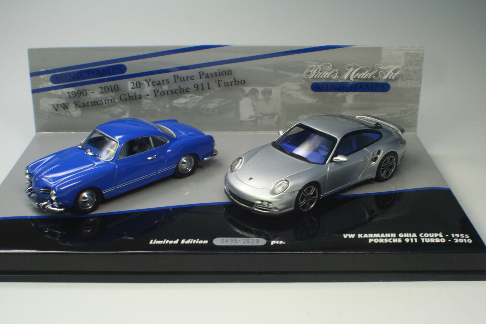VW Karmann Ghia-PORSCHE 911 TURBO 1990 - 2010 Minichamps 1 43 Nouveau neuf dans sa boîte