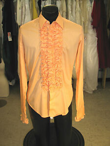 new items discount up to 60% rich and magnificent Details about BOY VINTAGE RUFFLED TUXEDO SHIRT SHRIMP (ORANGE) EXTRA SMALL  (BXS)