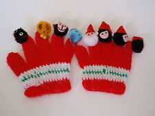 Vintage Hand Crafted Red Knit Pretend Play Finger Puppet Gloves Christmas Elves
