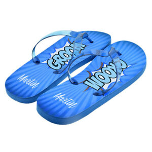 c60683a7356d10 Image is loading Personalised-Superhero-Groom-Flip-Flops-with-First-Name-