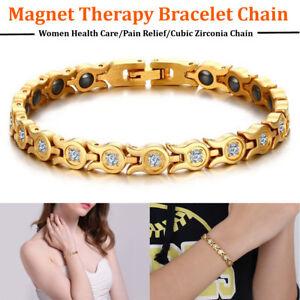 Femme-Therapie-Magnetique-Bracelet-Chaine-Zircone-Energie-Sante-Cadeau-FR