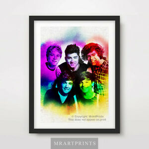 ONE-DIRECTION-PORTRAITS-Art-Print-Poster-A4-A3-A2-Painting-Artwork-Harry-Styles