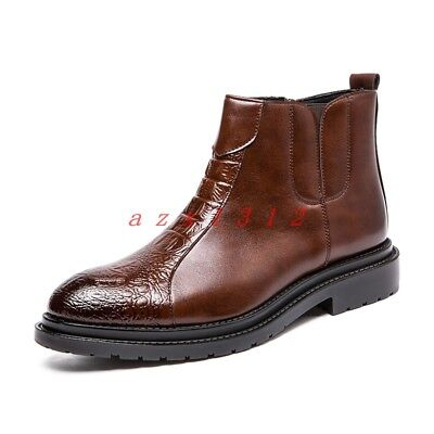 084cbf2f41d New Men Round Toe Zip Leather Ankle Boot Shoe High Top Dress Retro Stylish  Chic