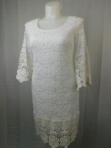 Details about Alfani Plus Size Crochet Trim Lace Shift Dress 0X Bright  White #6787