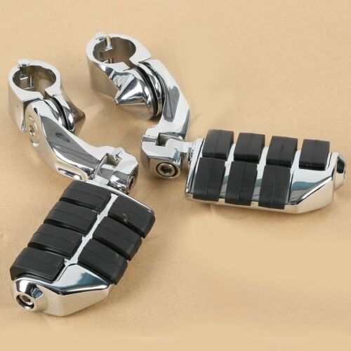 "1 1//4/"" 32mm Chrome Highway Foot Pegs Footrest Clamps For Harley Engine Guard Bar"