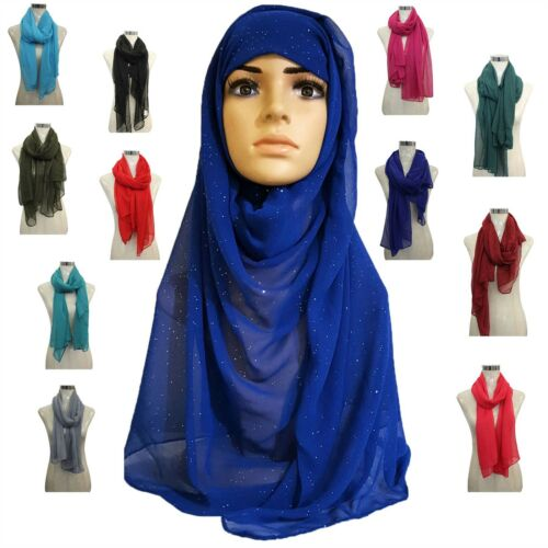 New Ladies Plain Glitter Chiffon Hijab Large Scarf Wrap Shawl Various Colours