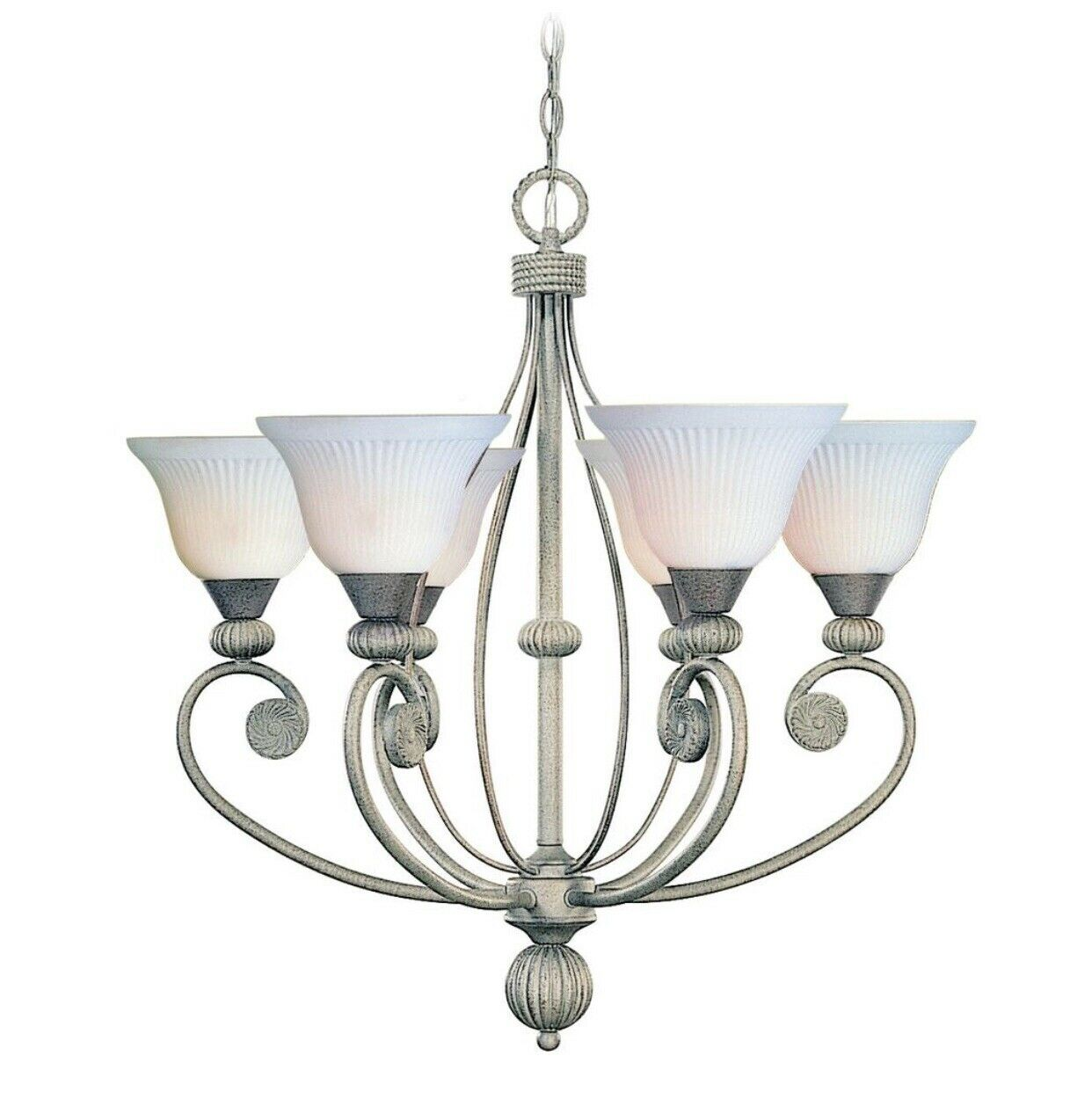 Volume Lighting 5 Light Polished Brass Interior Chandelier