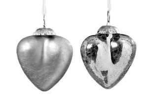 6 Herzen Aus Crashglas Zum Hangen Silber Glas Weihnachten