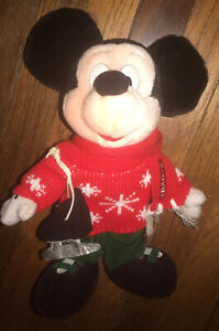 """Disney Store Skater Mickey Plush 12"""" Tall Mickey Mouse With Ice Skates Holiday"""