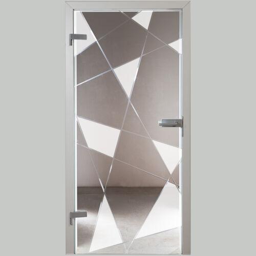 Glastür Ganzglastür GDR894-F2 Klarglas mit Dekor und Kristallrillenschliff