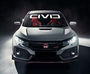 HONDA CIVIC Windshield Vinyl Decal Sticker Emblem White Logo - Honda civic decal stickers