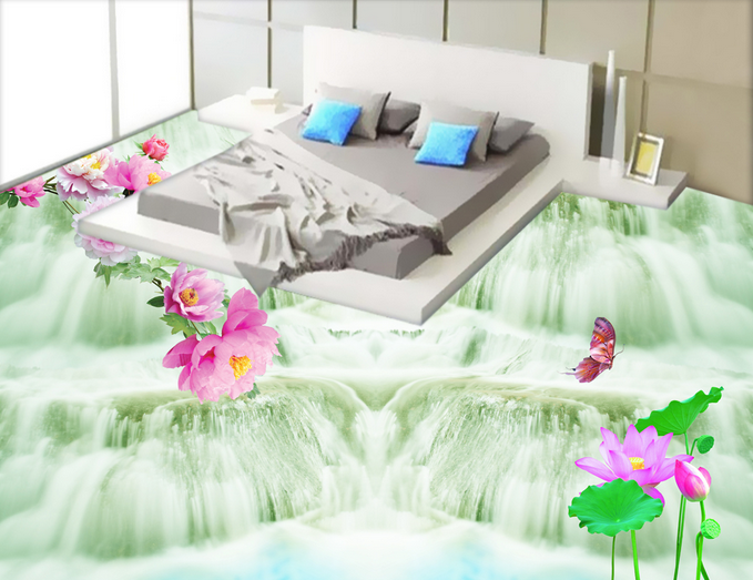3D Great Falls Flowers 744 Floor WallPaper Murals Wall Print Decal 5D AU Lemon