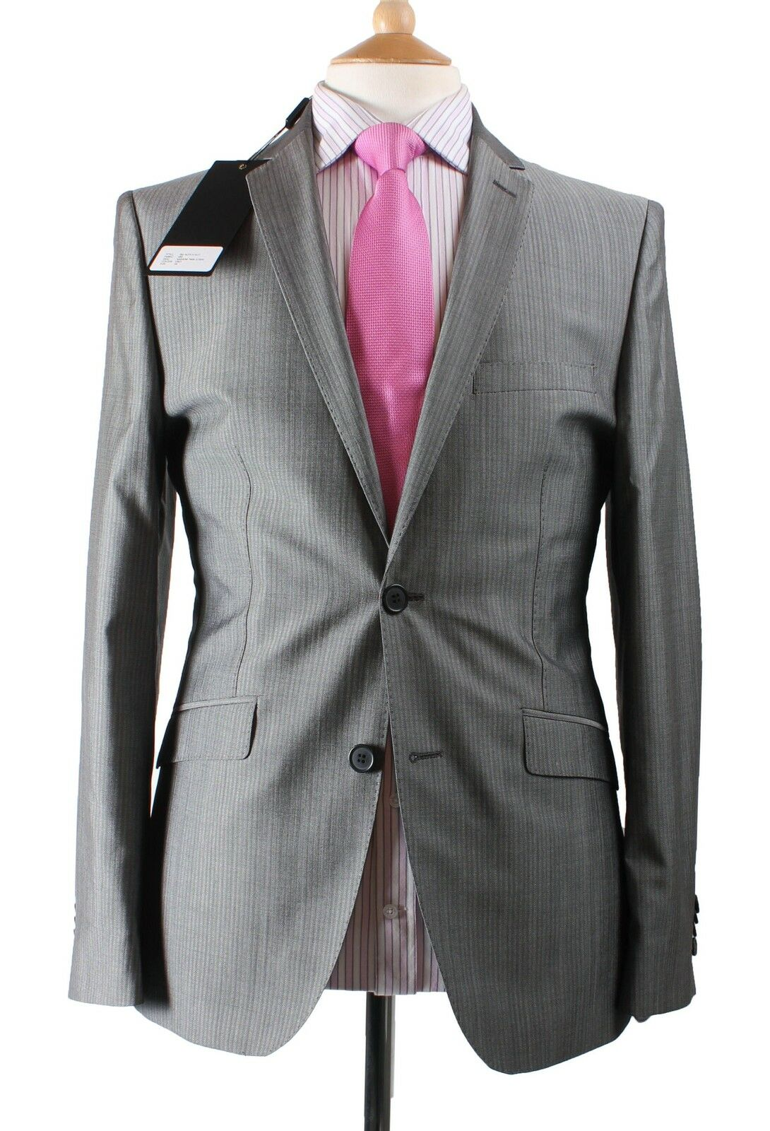 Holland Esquire Grau Narrow Twin Stripe  Shiny Wool Suit & FREE SUIT BAG UK38
