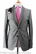 "BNWT Holland Esquire Grey ""Narrow Twinstripe""  Shiny TONIC Wool Suit"
