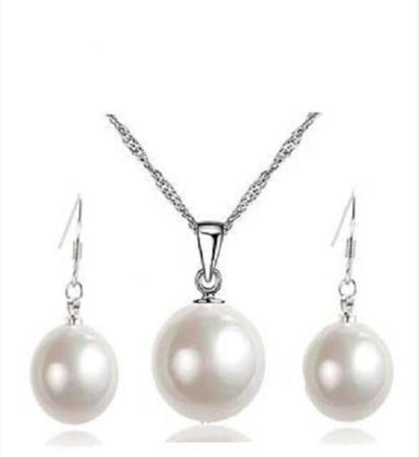 14mm white Sea shell Pearl Wedding Pendants Necklace & 10mm Earrings Set AAA