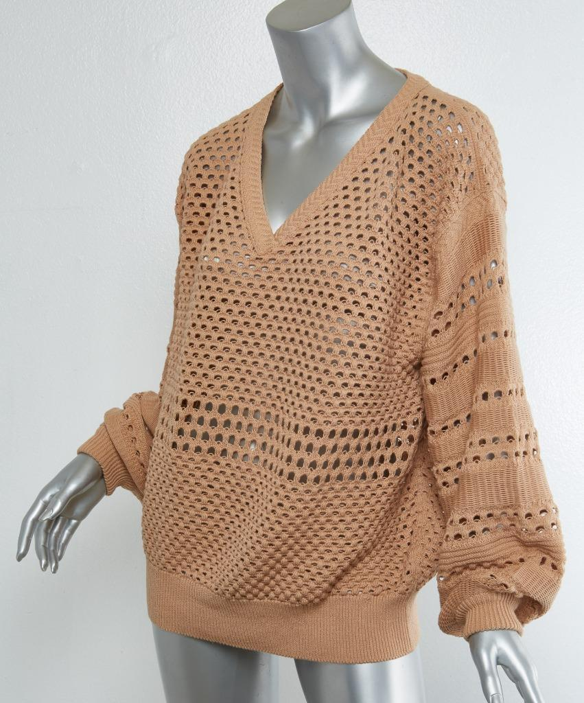 CHLOE damen Nude Sheer Texturot V-Neck Chunky-Knit Long-Sleeve Sweater Top M