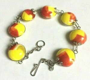 Yellow-amp-Red-Murano-Glass-Round-Shaped-Cabochon-Bead-Bracelet-Size-8in