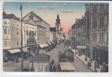 AK Linz, Landstrasse, Strassenbahn-Haltestelle, 1911
