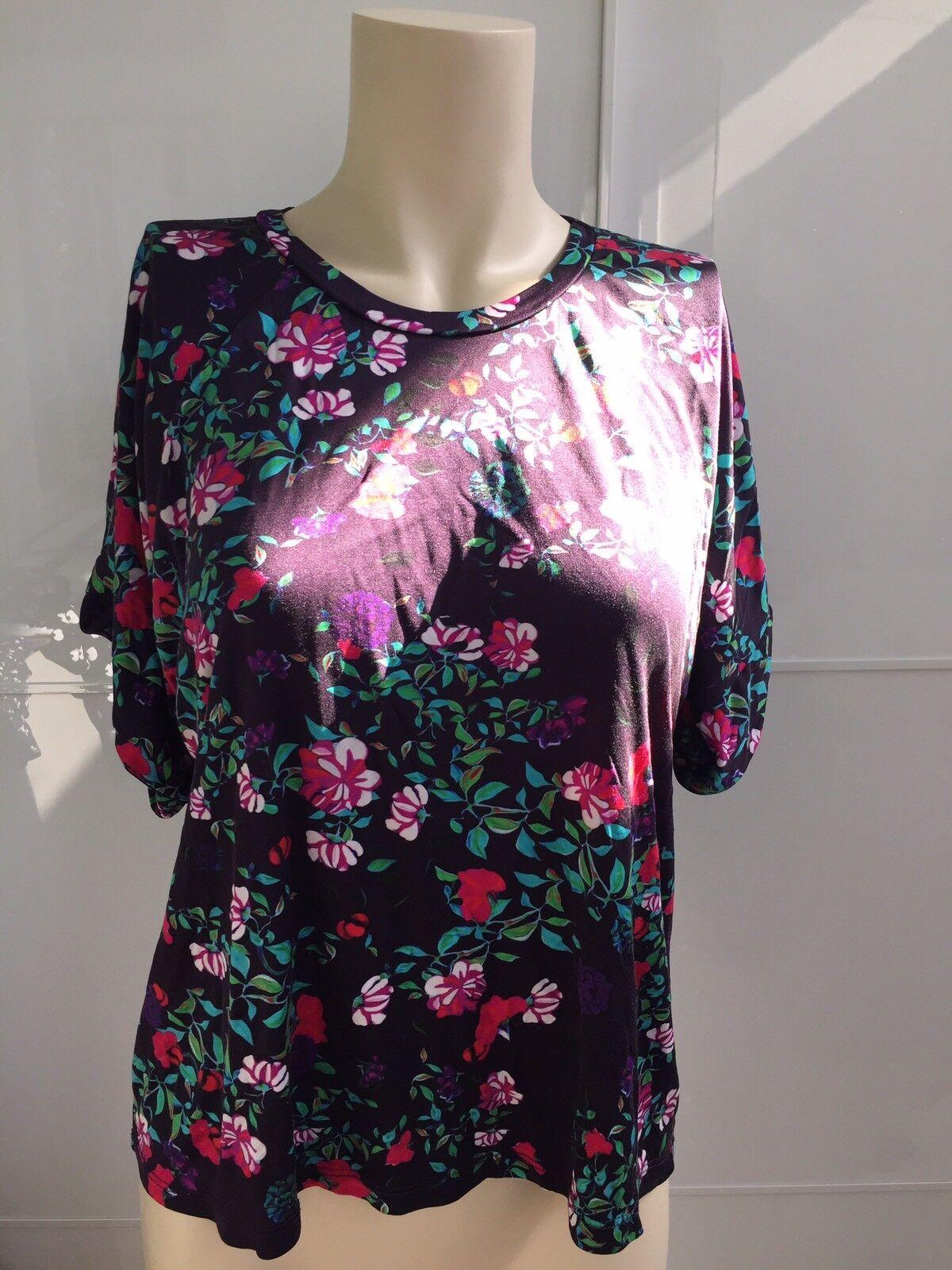 Mary Katrantzou For Topshop Floral schwarz Set Tshirt And Leggings Größe 8