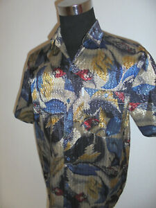 true-vintage-ST-ANGELO-90-s-Hemd-crazy-pattern-shirt-glitzer-hawaii-surf-XXL