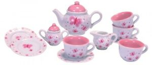 Schylling Butterfly Porcelain Tea Set, New, Free Shipping