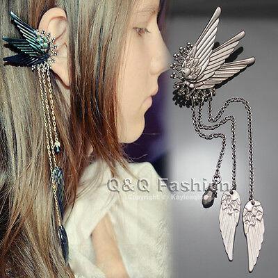 Left Ear Cuff Black Fairy Elf Pixie Angel Wing Long Chain Earring Fancy Dress