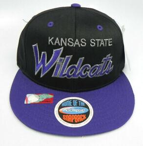 KANSAS-STATE-WILDCATS-NCAA-VINTAGE-SNAPBACK-RETRO-2-TONE-SCRIPT-CAP-HAT-NEW