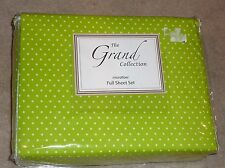 THE GRAND COLLECTION 4-PC BRIGHT GREEN DOT MICROFIBER FULL SHEET SET  NEW