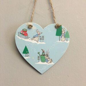 Peter-Rabbit-Christmas-Decoration-wooden-hanging-heart-plaque-Handmade
