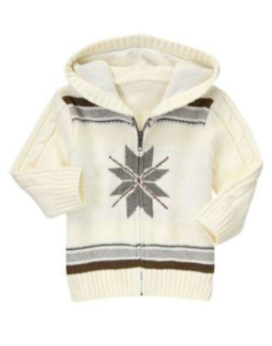 Gymboree ANIMAL PARTY Fair Isle Snowflake Zip-Up Hoodie Sweater 18-24 2T 3T NWT