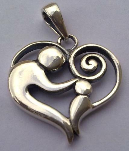 SOLID SILVER 925 FAMILY MOTHER AND CHILD PENDANT