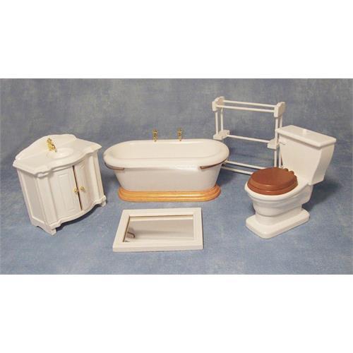 Conjunto de Baño 5 Piezas Escala 1:12 Para Casa De Muñecas