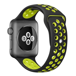 huge inventory reasonably priced release date: Details about Silicone Sport Breathable Strap Band 4 Apple Nike+Smart  iWatch 44mm Black/Yellow