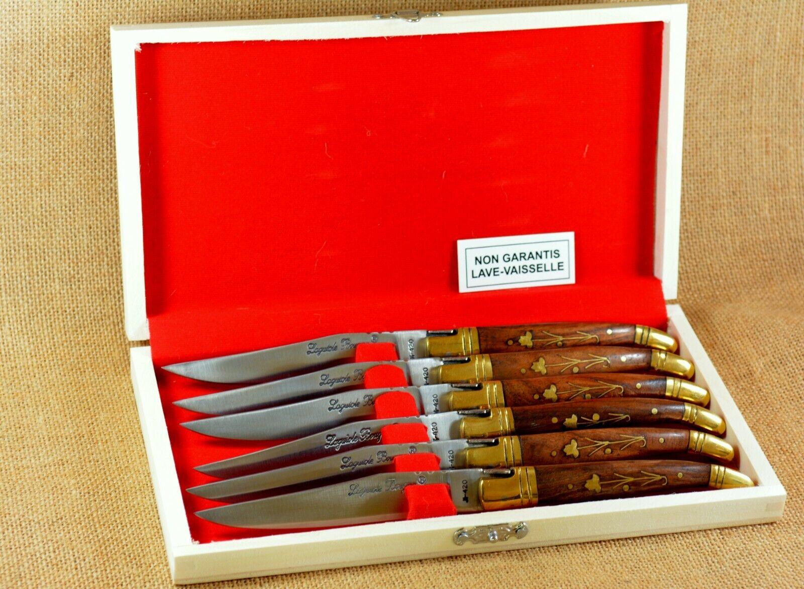 Coffret 6 Couteaux de Table Laguiole Bougna Palissandre Double Mitre Laiton Neuf