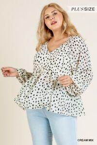 Umgee-Cream-Mix-Dalmatian-Animal-Print-Long-Sleeve-Top-Plus-Size-XL-1XL