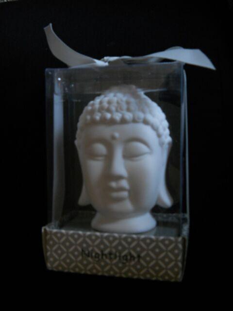 "Nightlight Budda Head White Hindu India Yoga Ceramic Porcelain 5"" Face Look New"
