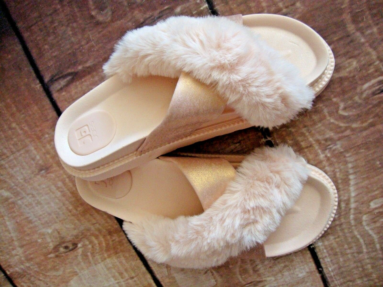 JOE'S Jeans Slide Cross Faux Fur Women's Slides Sandals Gasoline Finish