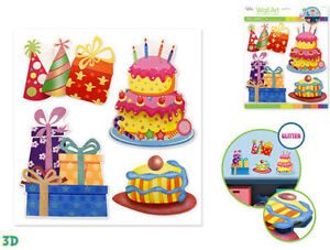 Cool Birthday Party Wall Stickers 4Pc W Glitter 3D Decor Cake Presents Funny Birthday Cards Online Sheoxdamsfinfo